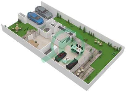 المخططات الطابقية لتصميم النموذج M/M-D تاون هاوس 3 غرف نوم - روكوود
