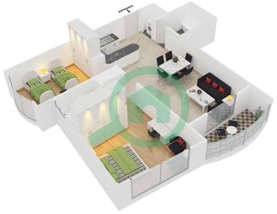 المخططات الطابقية لتصميم الوحدة 2,6,8,13 شقة 2 غرفة نوم - برج بريتوني
