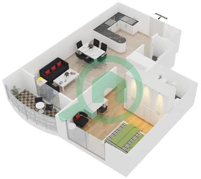 المخططات الطابقية لتصميم الوحدة 3,5,9,12 شقة 1 غرفة نوم - برج بريتوني