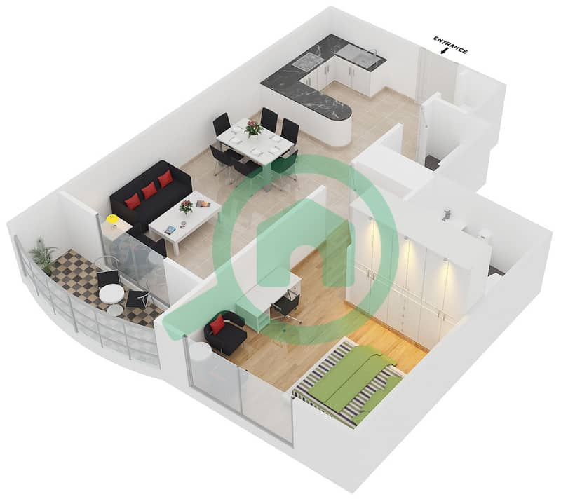Preatoni Tower - 1 Bedroom Apartment Unit 3,5,9,12 Floor plan Floor 26-42 image3D
