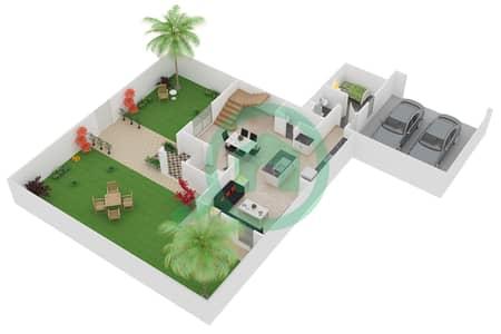 المخططات الطابقية لتصميم الوحدة C تاون هاوس 3 غرف نوم - فيلانوفا