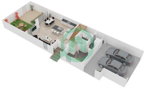 المخططات الطابقية لتصميم الوحدة B تاون هاوس 3 غرف نوم - فيلانوفا