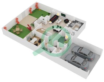 المخططات الطابقية لتصميم الوحدة A تاون هاوس 3 غرف نوم - فيلانوفا