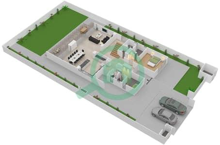 المخططات الطابقية لتصميم النموذج 7 فیلا 5 غرف نوم - حِد السعديات