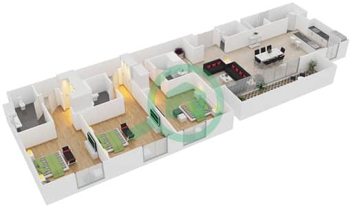 المخططات الطابقية لتصميم النموذج / الوحدة C1/105,205,305 شقة 3 غرف نوم - منتجع شاطئ نكي