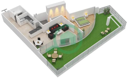 المخططات الطابقية لتصميم الوحدة G09 شقة 1 غرفة نوم - كابودوشا