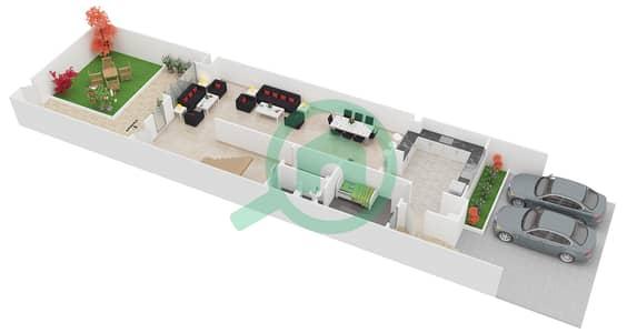 المخططات الطابقية لتصميم النموذج 1 تاون هاوس 4 غرف نوم - الضاحية 12