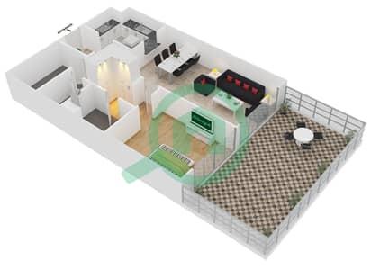 المخططات الطابقية لتصميم الوحدة G10 شقة 1 غرفة نوم - لايا رزيدنسز
