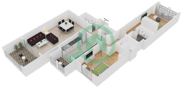 المخططات الطابقية لتصميم النموذج 1 شقة 2 غرفة نوم - ليان