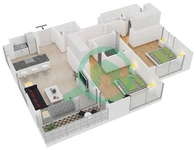 المخططات الطابقية لتصميم الوحدة 10 شقة 2 غرفة نوم - افينيو ريزدنس 1