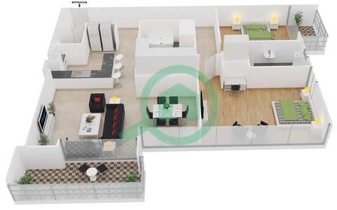المخططات الطابقية لتصميم الوحدة 9 شقة 2 غرفة نوم - افينيو ريزدنس 1