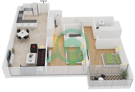 المخططات الطابقية لتصميم الوحدة 8 شقة 2 غرفة نوم - افينيو ريزدنس 1