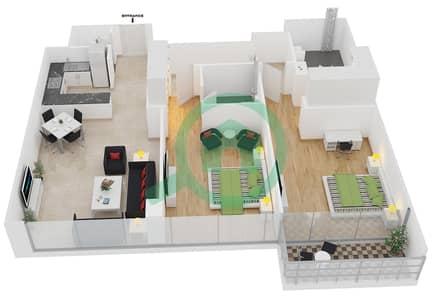 المخططات الطابقية لتصميم الوحدة 7 شقة 2 غرفة نوم - افينيو ريزدنس 1