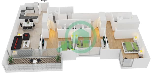 المخططات الطابقية لتصميم الوحدة 6 شقة 3 غرف نوم - افينيو ريزدنس 1