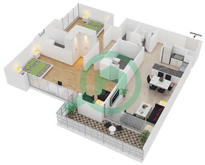 المخططات الطابقية لتصميم الوحدة 5 شقة 2 غرفة نوم - افينيو ريزدنس 1