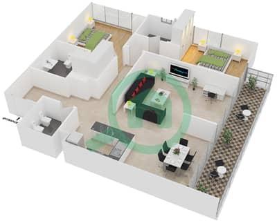 المخططات الطابقية لتصميم الوحدة 4 شقة 2 غرفة نوم - افينيو ريزدنس 1