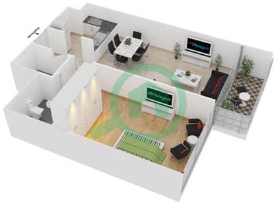 المخططات الطابقية لتصميم الوحدة 3 شقة 1 غرفة نوم - افينيو ريزدنس 1
