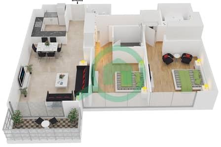 المخططات الطابقية لتصميم الوحدة 2 شقة 2 غرفة نوم - افينيو ريزدنس 1