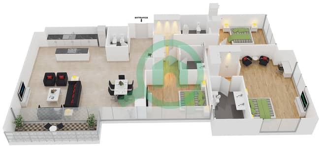 المخططات الطابقية لتصميم الوحدة 1 شقة 3 غرف نوم - افينيو ريزدنس 1