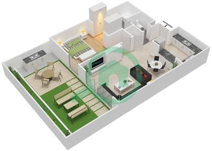 المخططات الطابقية لتصميم النموذج G شقة 1 غرفة نوم - الزاهية