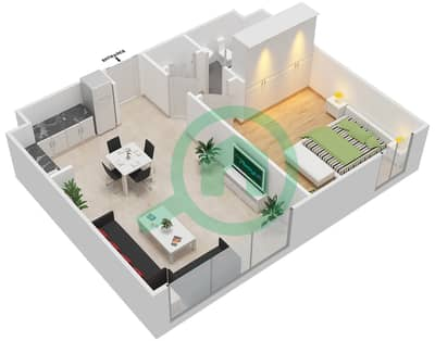 المخططات الطابقية لتصميم النموذج B شقة 1 غرفة نوم - الزاهية