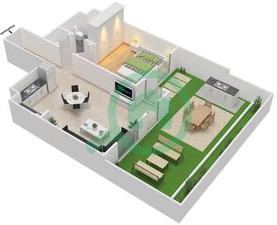 المخططات الطابقية لتصميم النموذج D شقة 1 غرفة نوم - الزاهية