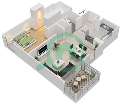 المخططات الطابقية لتصميم النموذج L شقة 1 غرفة نوم - الزاهية