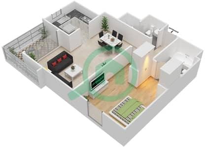المخططات الطابقية لتصميم النموذج M شقة 1 غرفة نوم - الزاهية
