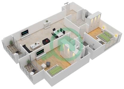 المخططات الطابقية لتصميم النموذج 1 شقة 2 غرفة نوم - ميلانو جيوفاني بوتيك سوتس