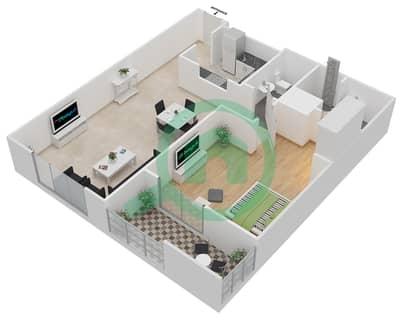 المخططات الطابقية لتصميم النموذج 1 شقة 1 غرفة نوم - ميلانو جيوفاني بوتيك سوتس
