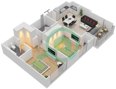المخططات الطابقية لتصميم الوحدة 2.0 BLOCK-B,C شقة 2 غرفة نوم - بارك بوينت