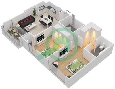 المخططات الطابقية لتصميم الوحدة 2.0 BLOCK-B شقة 2 غرفة نوم - بارك بوينت