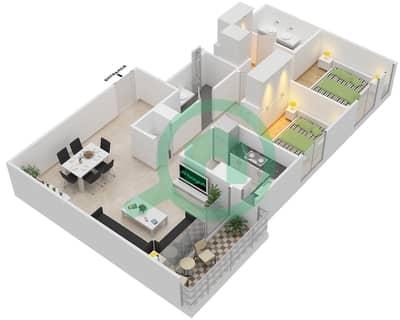 المخططات الطابقية لتصميم الوحدة 2.2 BLOCK-B,C شقة 2 غرفة نوم - بارك بوينت