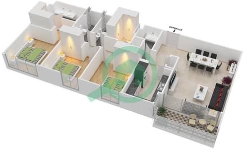 المخططات الطابقية لتصميم الوحدة 3.2 BLOCK-B,C شقة 3 غرف نوم - بارك بوينت