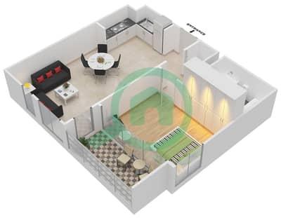المخططات الطابقية لتصميم الوحدة 1.0.D BLOCK-D شقة 1 غرفة نوم - بارك بوينت