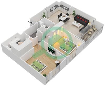 المخططات الطابقية لتصميم الوحدة 2.5 BLOCK-D شقة 2 غرفة نوم - بارك بوينت