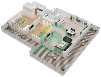 المخططات الطابقية لتصميم الوحدة 2.5.B BLOCK-D شقة 2 غرفة نوم - بارك بوينت