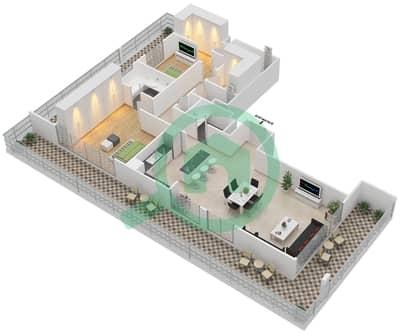 المخططات الطابقية لتصميم الوحدة A.1 BLOCK-D شقة 2 غرفة نوم - بارك بوينت