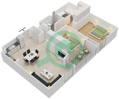 المخططات الطابقية لتصميم الوحدة 2.4.A BLOCK-D شقة 2 غرفة نوم - بارك بوينت