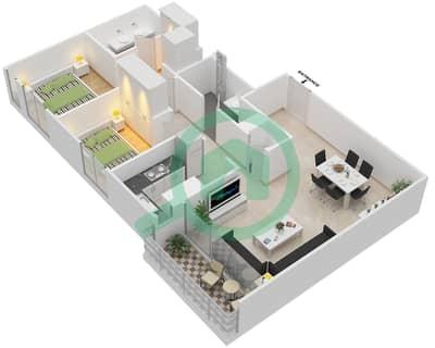 المخططات الطابقية لتصميم الوحدة 2.2 BLOCK-B شقة 2 غرفة نوم - بارك بوينت