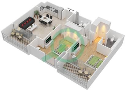 المخططات الطابقية لتصميم الوحدة 2.6 BLOCK-D شقة 2 غرفة نوم - بارك بوينت