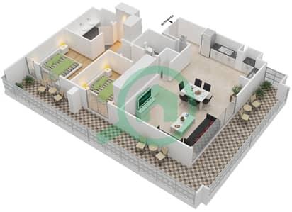 المخططات الطابقية لتصميم الوحدة A.3 BLOCK-D شقة 2 غرفة نوم - بارك بوينت