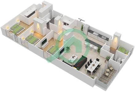 المخططات الطابقية لتصميم الوحدة 3.0.B BLOCK-D شقة 3 غرف نوم - بارك بوينت