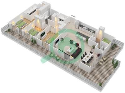 المخططات الطابقية لتصميم الوحدة 3.0.A BLOCK-D شقة 3 غرف نوم - بارك بوينت
