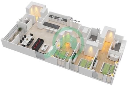 المخططات الطابقية لتصميم الوحدة 3.1 BLOCK-D شقة 3 غرف نوم - بارك بوينت