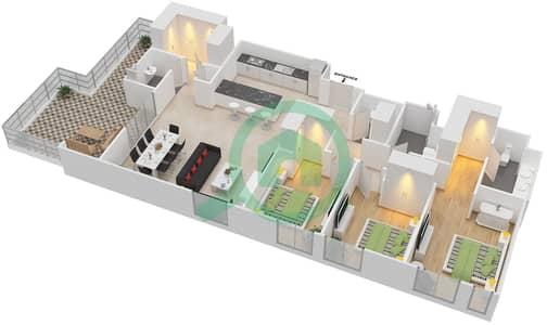 المخططات الطابقية لتصميم الوحدة 3.1.A BLOCK-D شقة 3 غرف نوم - بارك بوينت