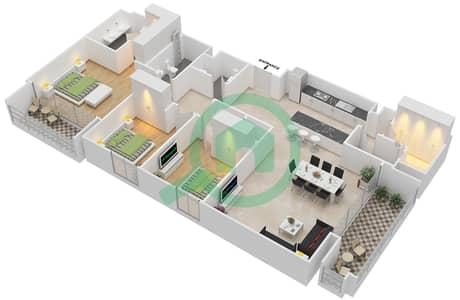 المخططات الطابقية لتصميم الوحدة 3.7 BLOCK-D شقة 3 غرف نوم - بارك بوينت