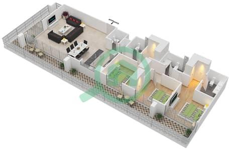 المخططات الطابقية لتصميم الوحدة A.2 BLOCK-D شقة 3 غرف نوم - بارك بوينت