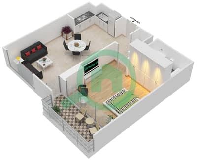 المخططات الطابقية لتصميم الوحدة 1.0 BLOCK-B شقة 1 غرفة نوم - بارك بوينت