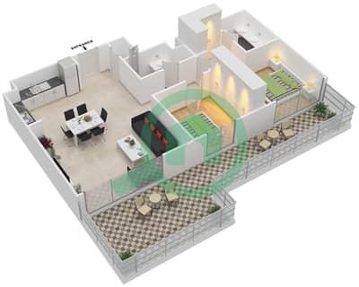 المخططات الطابقية لتصميم الوحدة 2.2.A BLOCK-B شقة 2 غرفة نوم - بارك بوينت